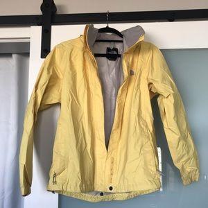 Yellow North face rain coat